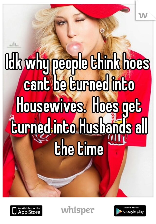 Idk why people think hoes cant be turned into Housewives.  Hoes get turned into Husbands all the time