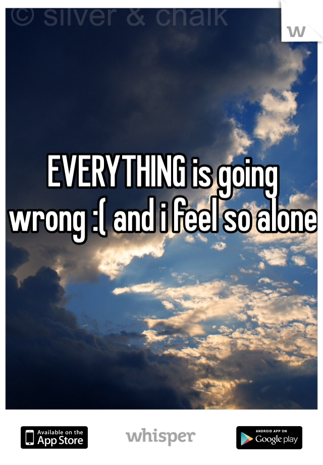 EVERYTHING is going wrong :( and i feel so alone