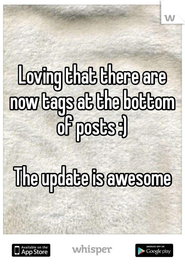 Loving that there are now tags at the bottom of posts :)  The update is awesome
