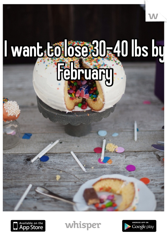 I want to lose 30-40 lbs by February
