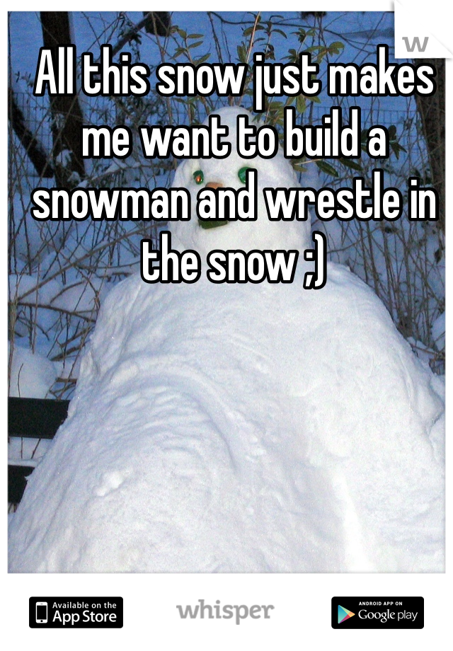 All this snow just makes me want to build a snowman and wrestle in the snow ;)