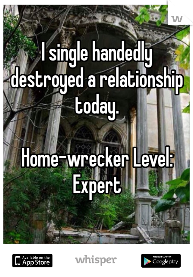 I single handedly destroyed a relationship today.   Home-wrecker Level: Expert