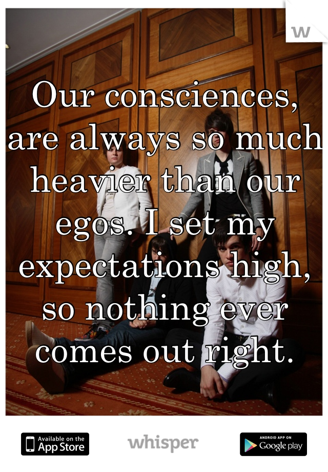 Our consciences, are always so much heavier than our egos. I set my expectations high, so nothing ever comes out right.