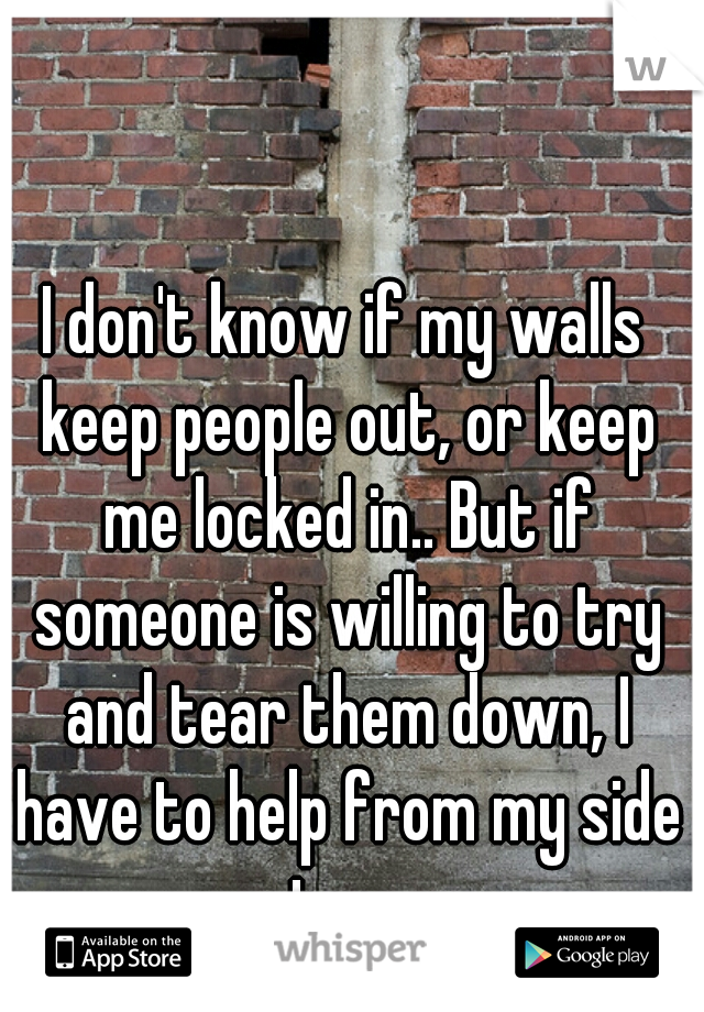 I don't know if my walls keep people out, or keep me locked in.. But if someone is willing to try and tear them down, I have to help from my side too.