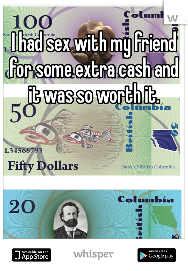 I had sex with my friend for some extra cash and it was so worth it.