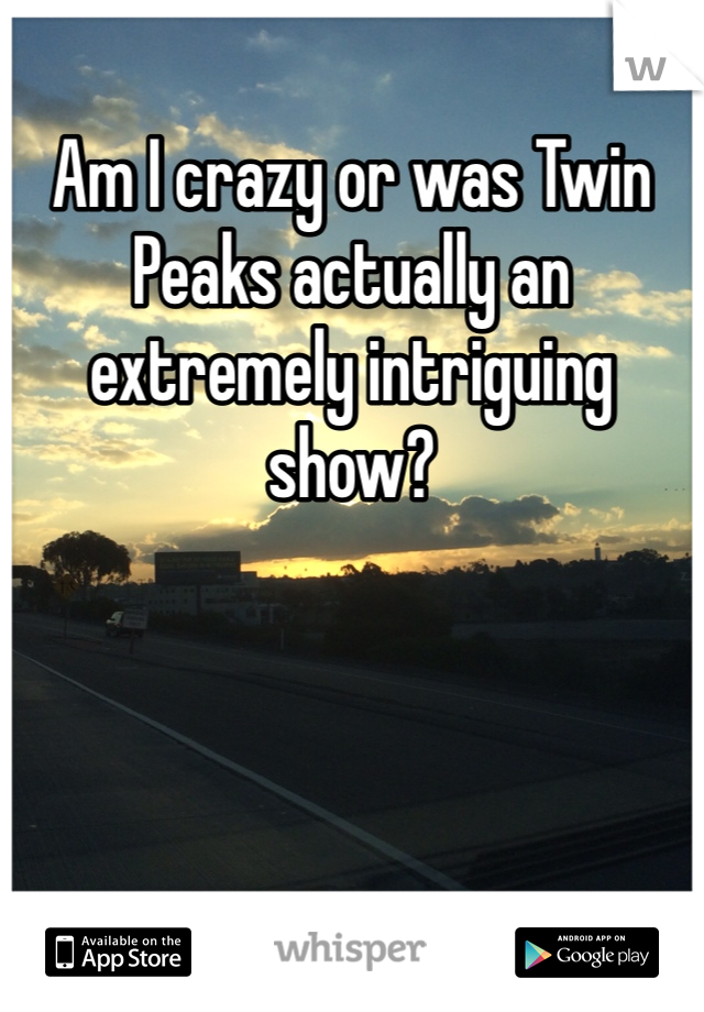 Am I crazy or was Twin Peaks actually an extremely intriguing show?