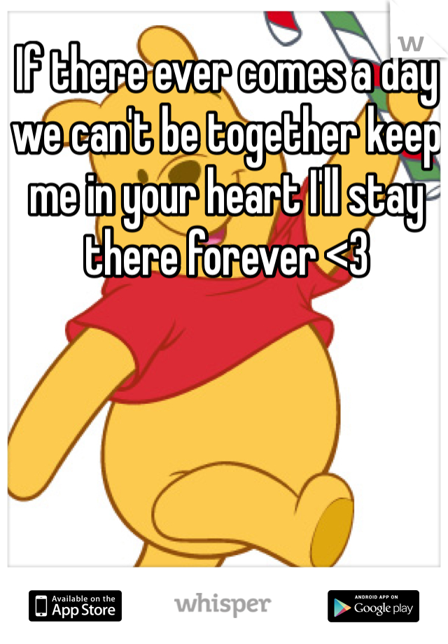 If there ever comes a day we can't be together keep me in your heart I'll stay there forever <3