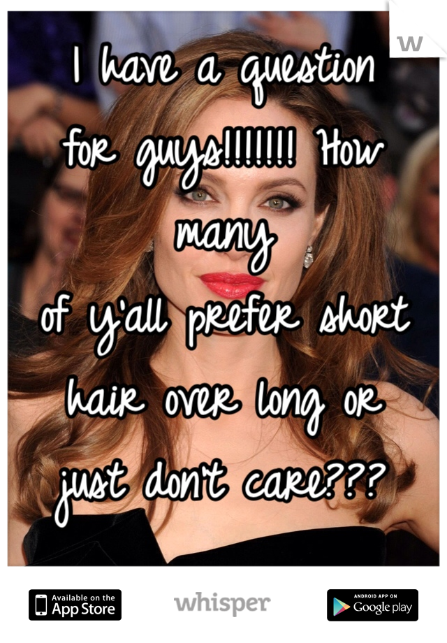 I have a question  for guys!!!!!!! How many  of y'all prefer short  hair over long or  just don't care???