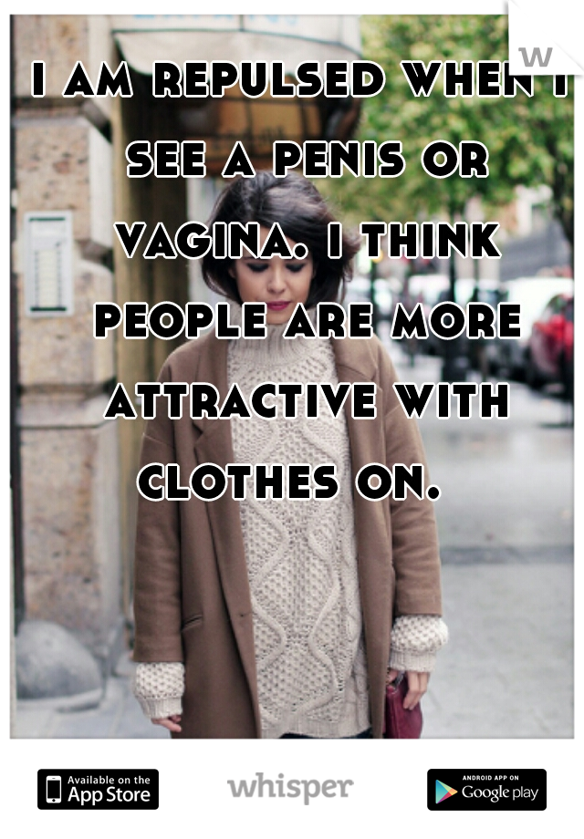i am repulsed when i see a penis or vagina. i think people are more attractive with clothes on.