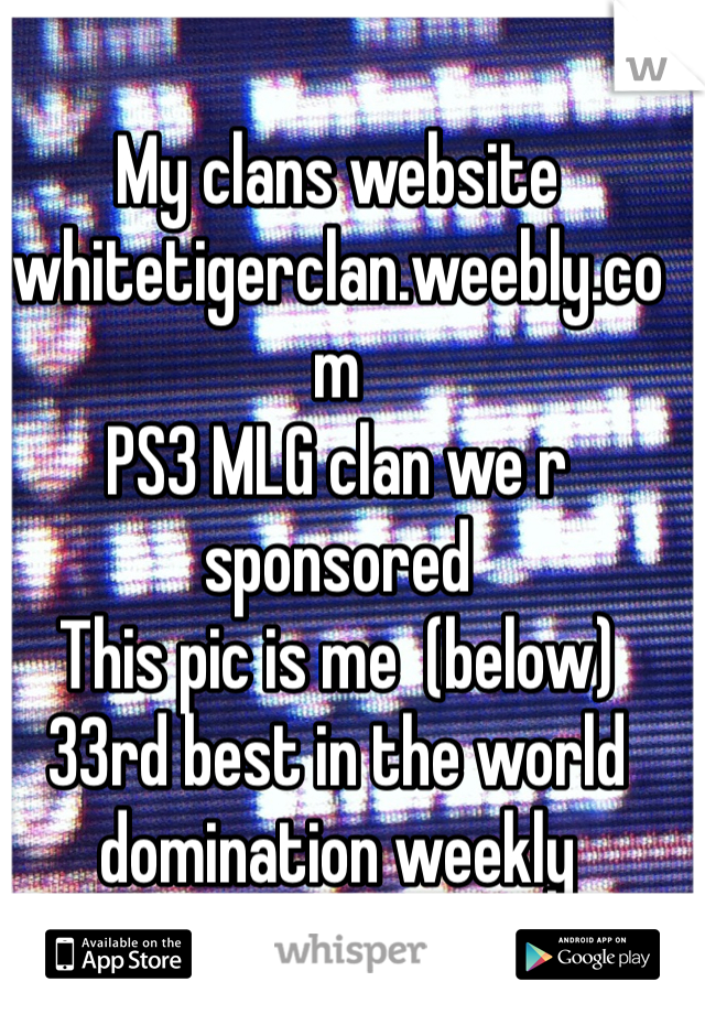 My clans website  whitetigerclan.weebly.com  PS3 MLG clan we r sponsored This pic is me  (below) 33rd best in the world domination weekly