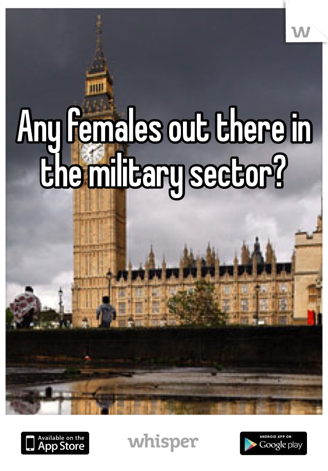Any females out there in the military sector?