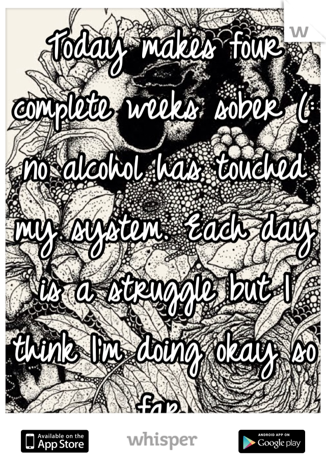 Today makes four complete weeks sober (: no alcohol has touched my system. Each day is a struggle but I think I'm doing okay so far.