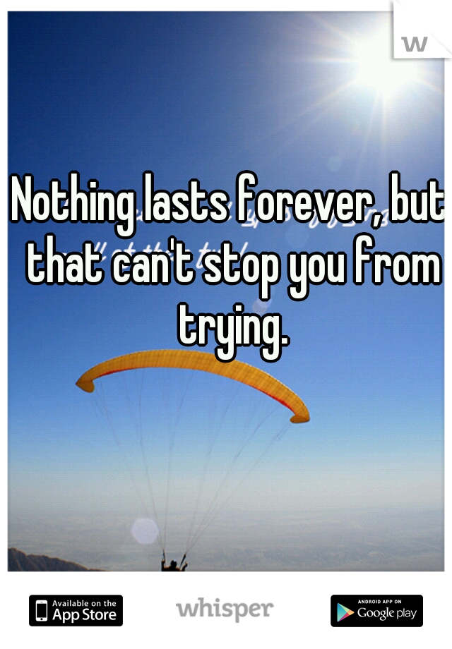 Nothing lasts forever, but that can't stop you from trying.