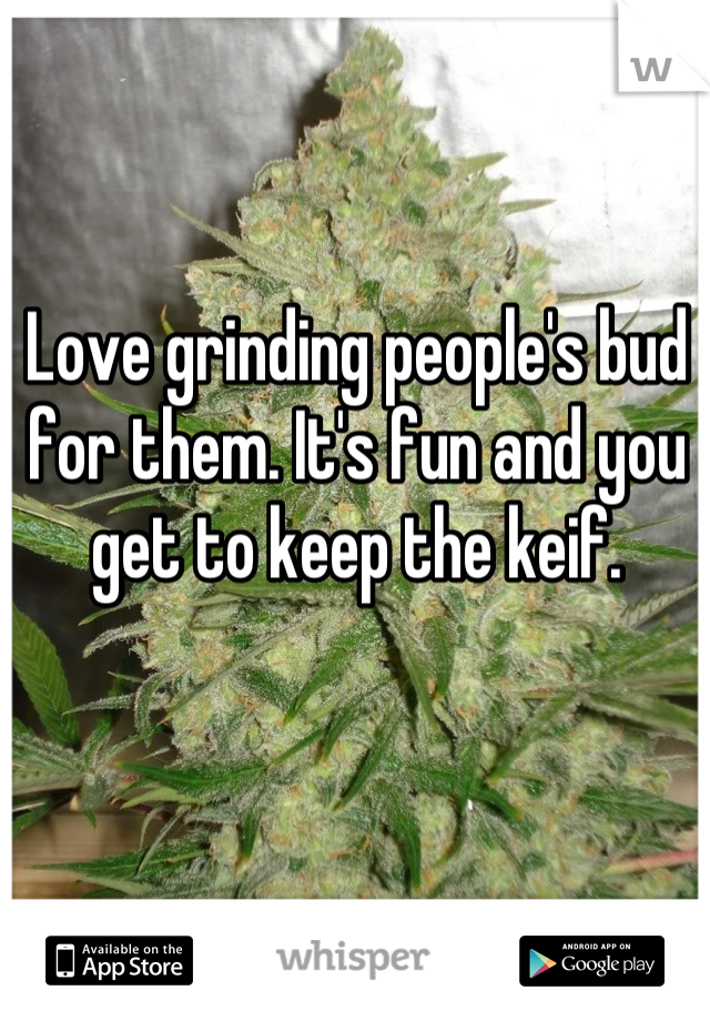 Love grinding people's bud for them. It's fun and you get to keep the keif.