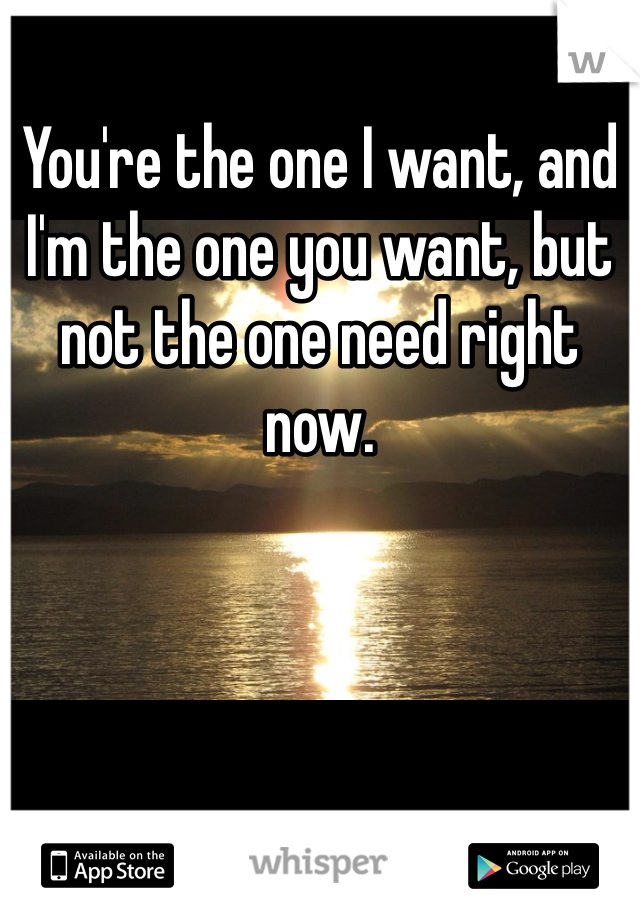 You're the one I want, and I'm the one you want, but not the one need right now.