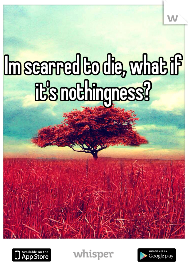 Im scarred to die, what if it's nothingness?