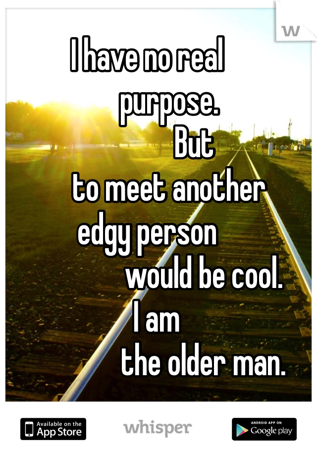 I have no real         purpose.                But        to meet another edgy person                   would be cool.    I am                   the older man.
