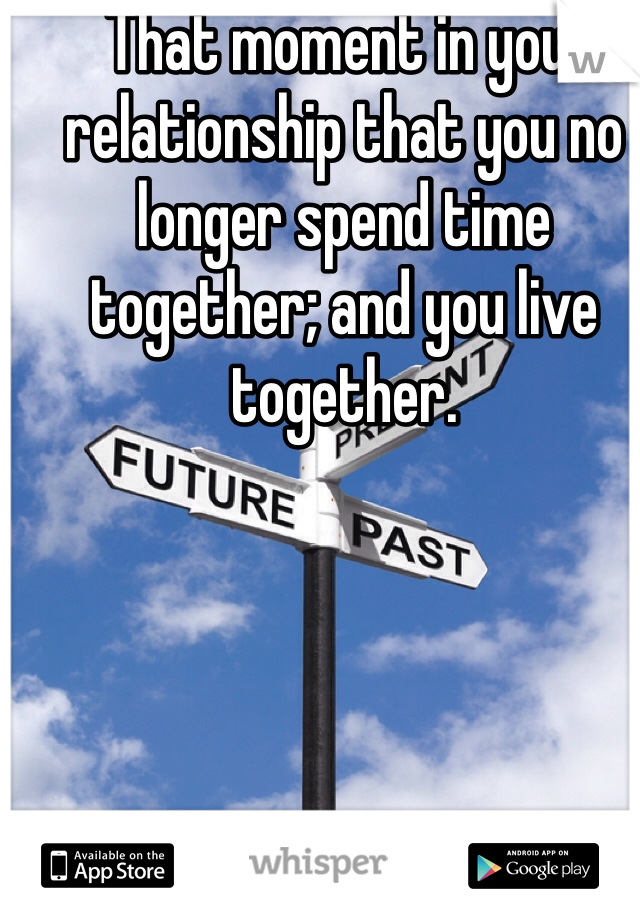 That moment in your relationship that you no longer spend time together; and you live together.