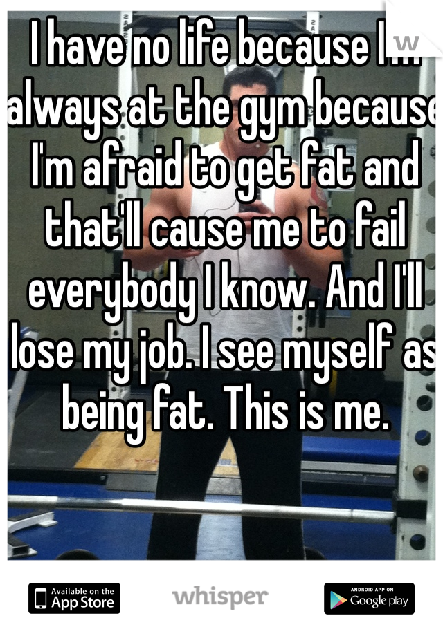 I have no life because I'm always at the gym because I'm afraid to get fat and that'll cause me to fail everybody I know. And I'll lose my job. I see myself as being fat. This is me.