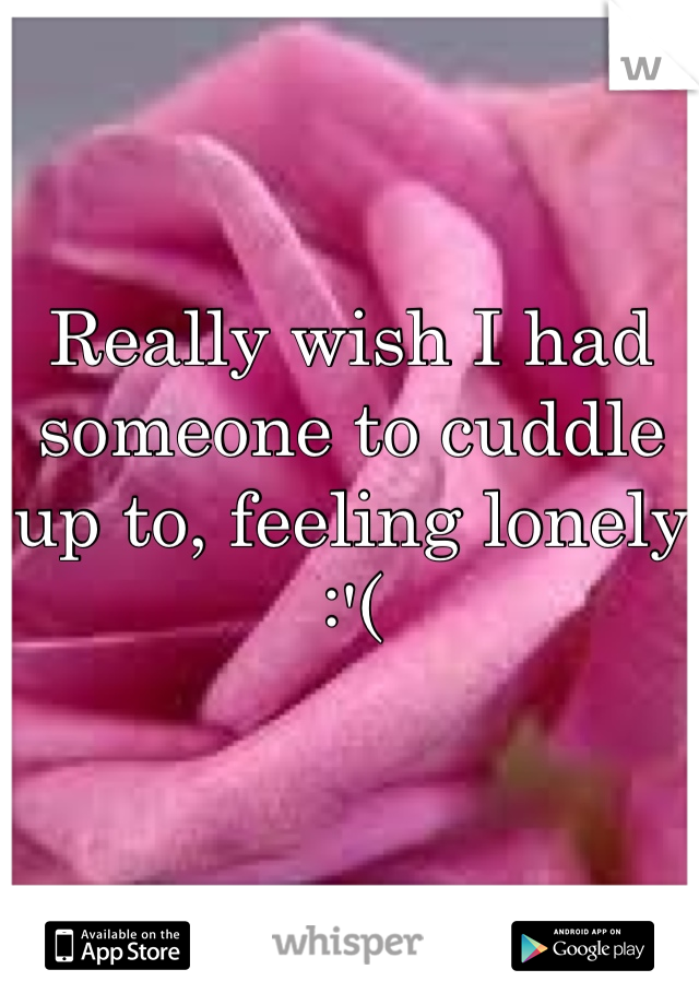 Really wish I had someone to cuddle up to, feeling lonely :'(