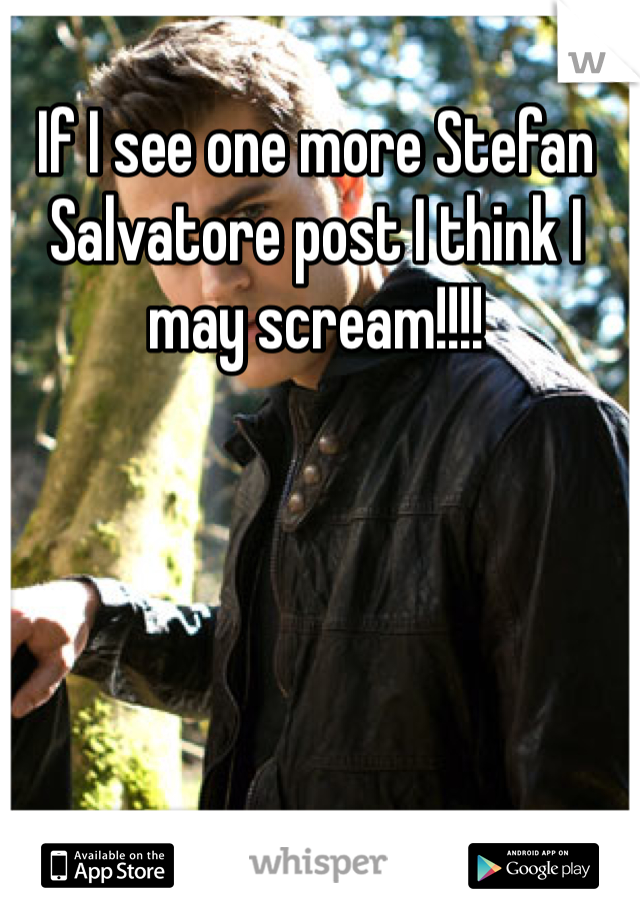 If I see one more Stefan Salvatore post I think I may scream!!!!