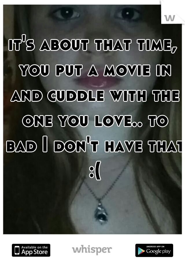 it's about that time, you put a movie in and cuddle with the one you love.. to bad I don't have that :(