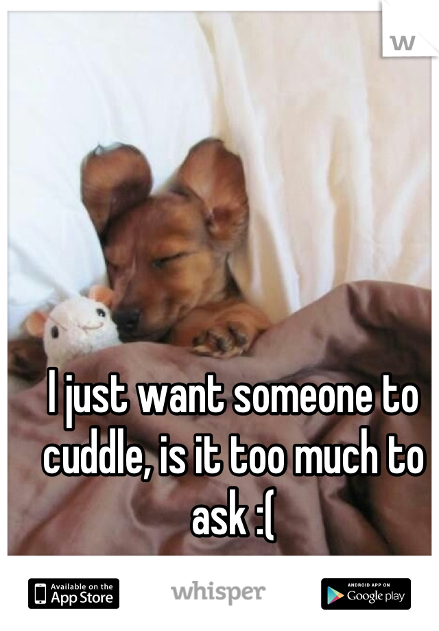 I just want someone to cuddle, is it too much to ask :(