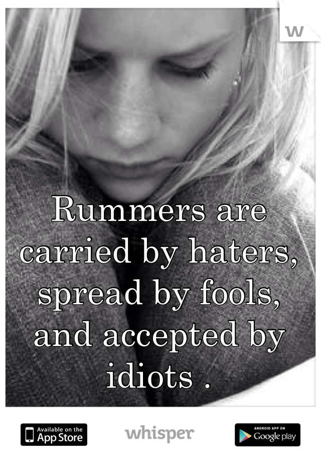 Rummers are carried by haters, spread by fools, and accepted by idiots .