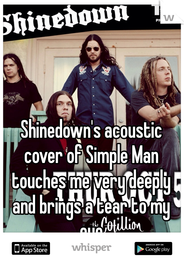 Shinedown's acoustic cover of Simple Man touches me very deeply and brings a tear to my eye