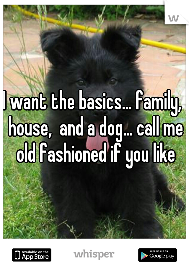 I want the basics... family,  house,  and a dog... call me old fashioned if you like