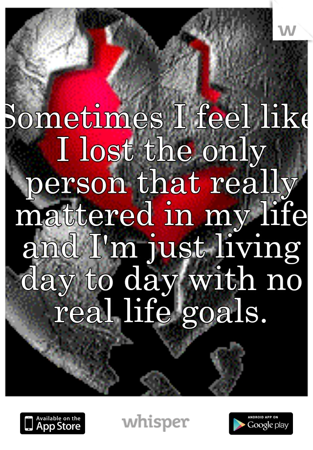 Sometimes I feel like I lost the only person that really mattered in my life and I'm just living day to day with no real life goals.