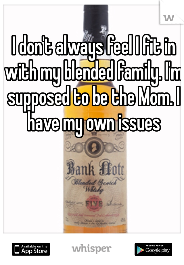 I don't always feel I fit in with my blended family. I'm supposed to be the Mom. I have my own issues