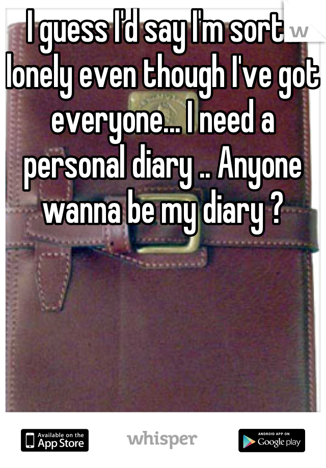 I guess I'd say I'm sorta lonely even though I've got everyone... I need a personal diary .. Anyone wanna be my diary ?