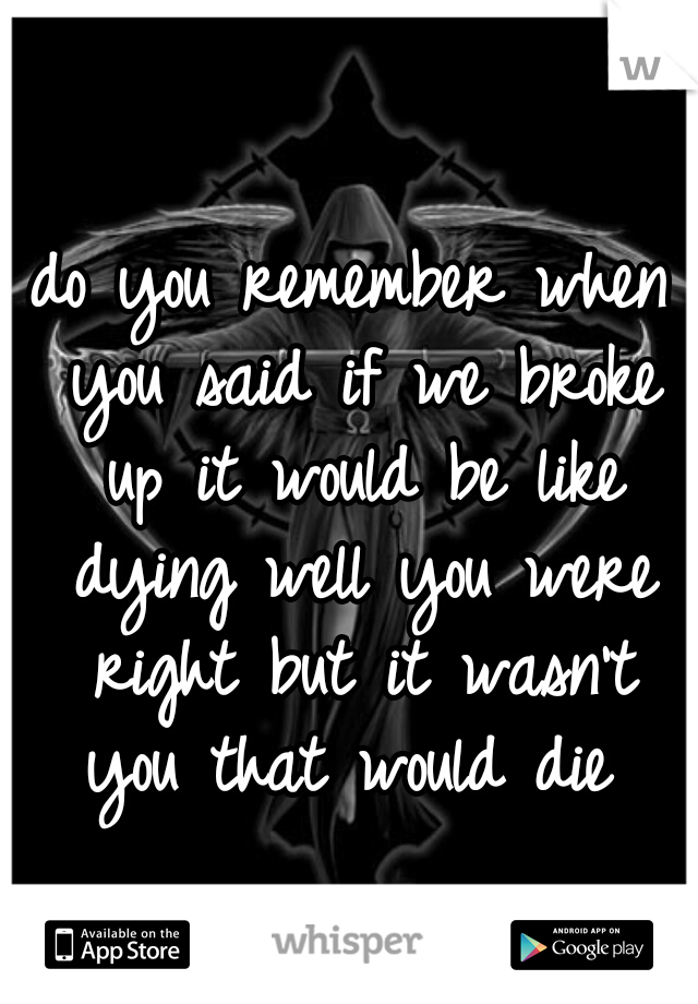 do you remember when you said if we broke up it would be like dying well you were right but it wasn't you that would die