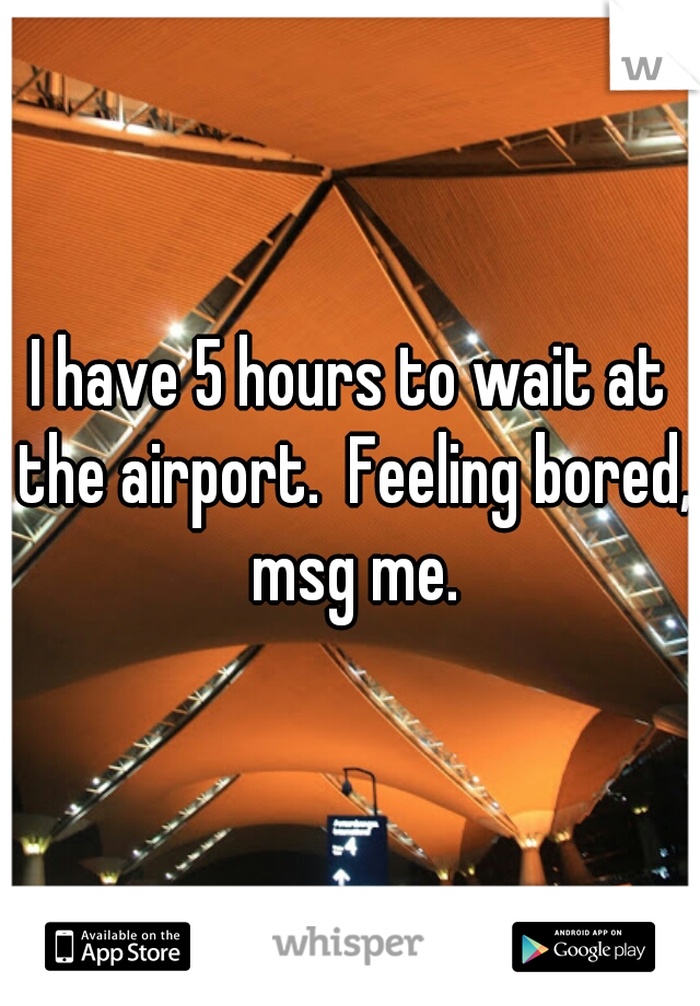 I have 5 hours to wait at the airport.  Feeling bored, msg me.