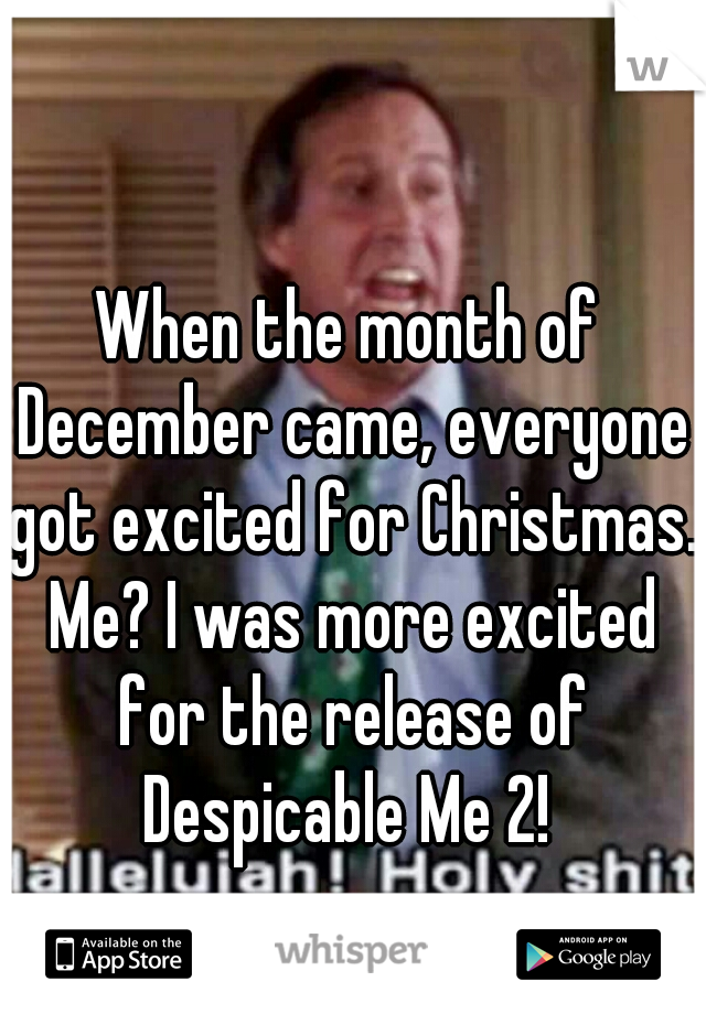 When the month of December came, everyone got excited for Christmas. Me? I was more excited for the release of Despicable Me 2!