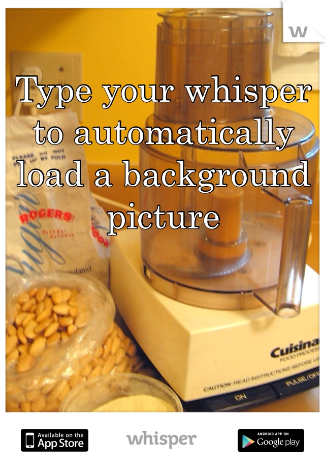 Type your whisper to automatically load a background picture