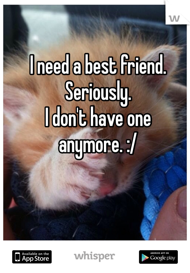 I need a best friend.  Seriously. I don't have one anymore. :/