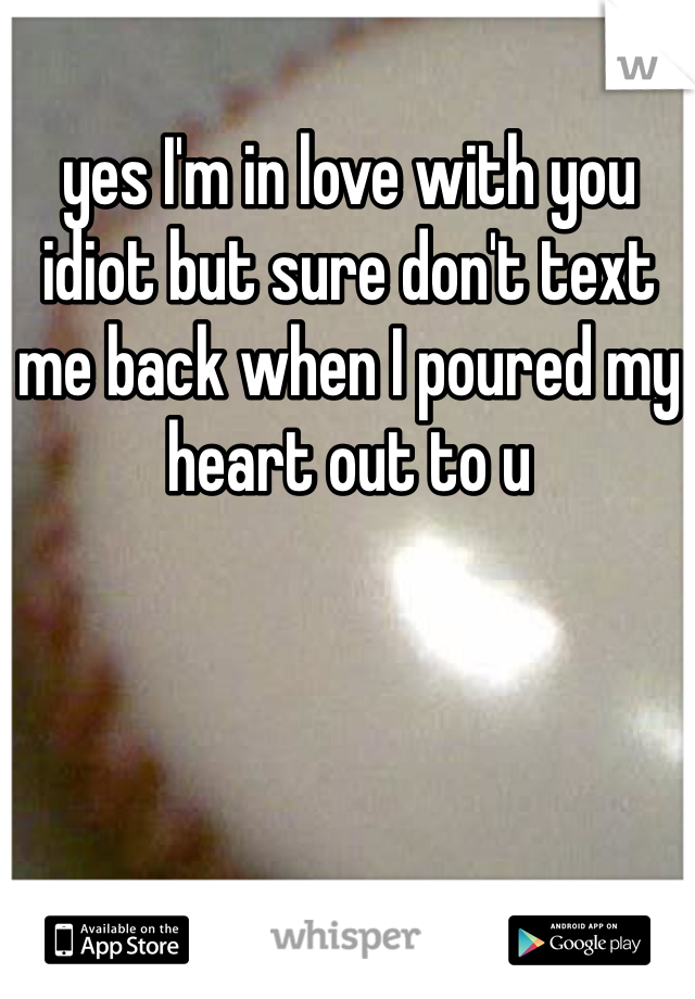 yes I'm in love with you idiot but sure don't text me back when I poured my heart out to u