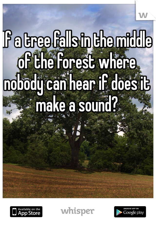 If a tree falls in the middle of the forest where nobody can hear if does it make a sound?
