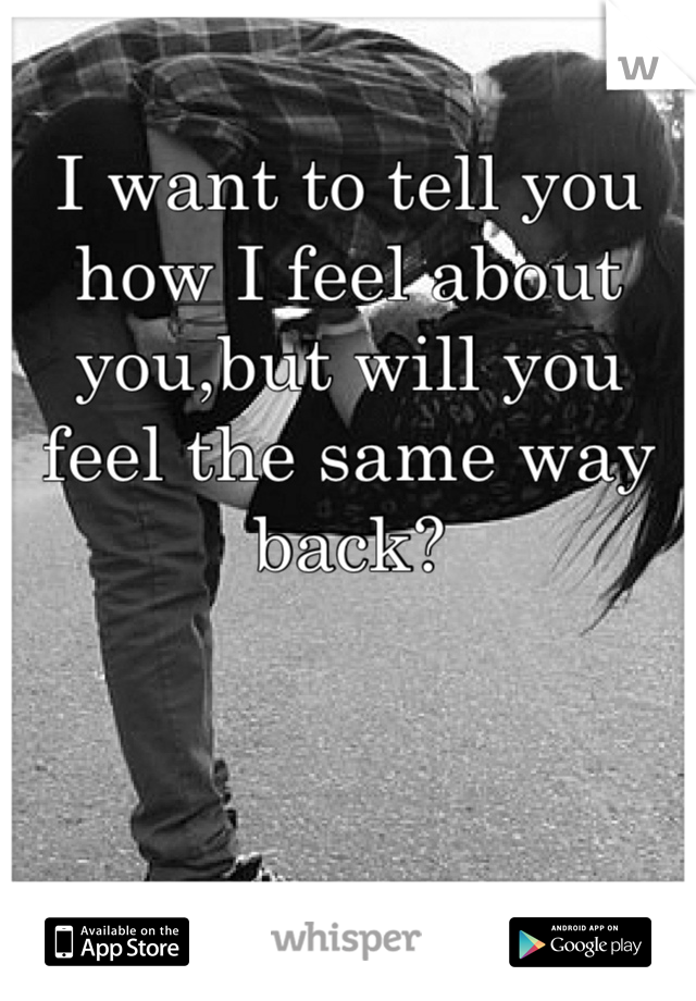I want to tell you how I feel about you,but will you feel the same way back?