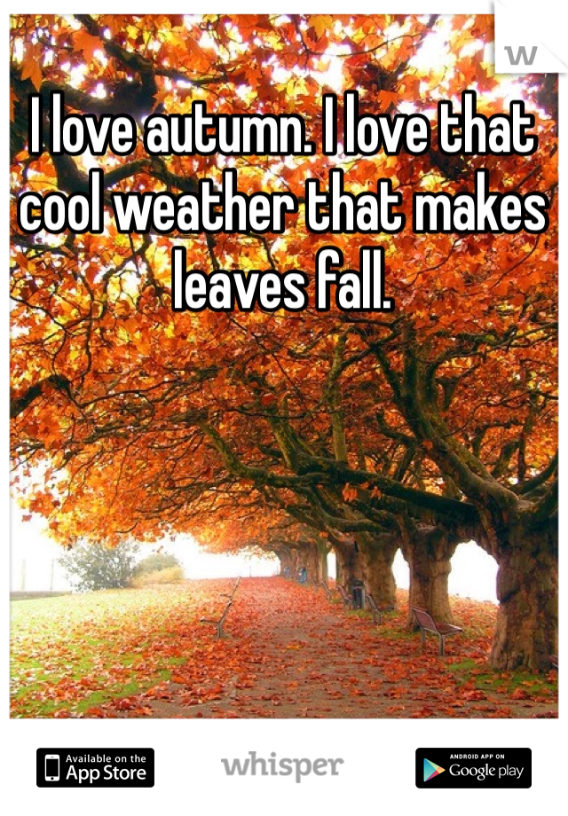 I love autumn. I love that cool weather that makes leaves fall.
