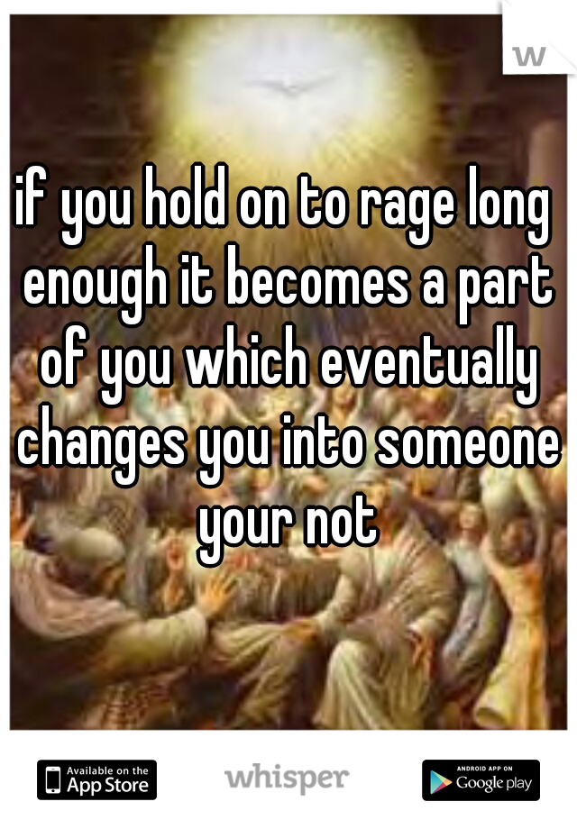 if you hold on to rage long enough it becomes a part of you which eventually changes you into someone your not