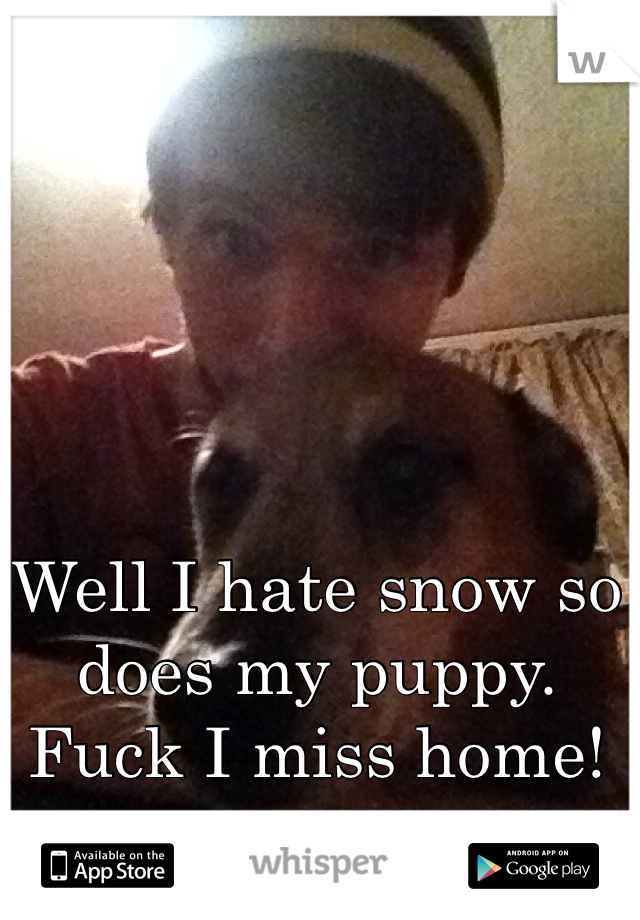 Well I hate snow so does my puppy. Fuck I miss home!