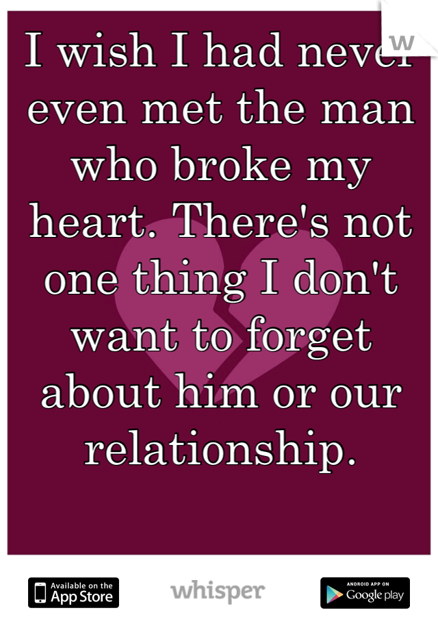 I wish I had never even met the man who broke my heart. There's not one thing I don't want to forget about him or our relationship.
