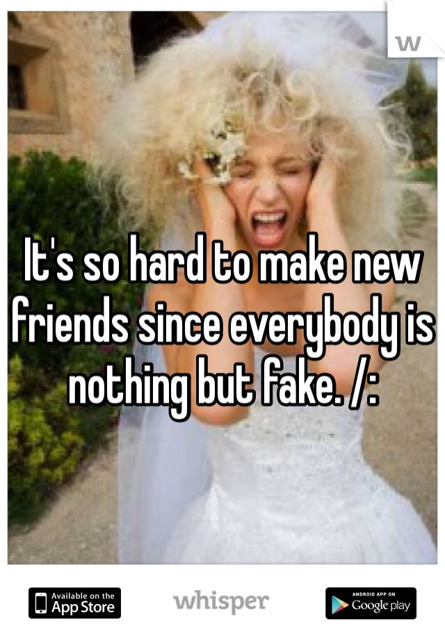 It's so hard to make new friends since everybody is nothing but fake. /: