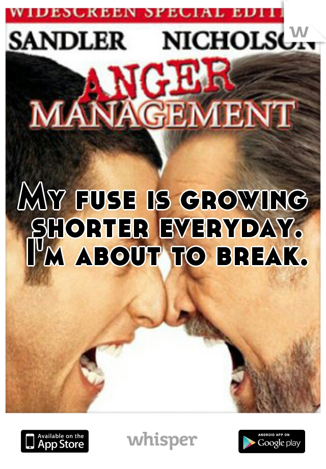 My fuse is growing shorter everyday. I'm about to break.