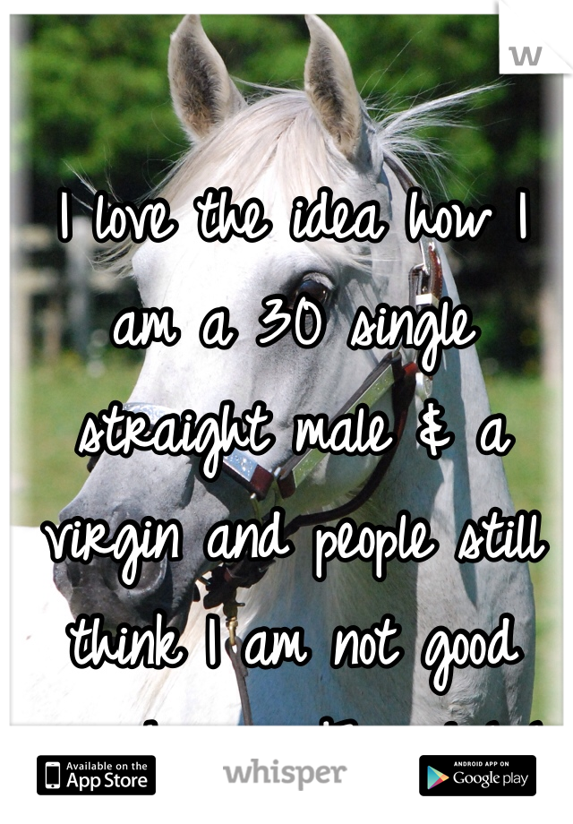 I love the idea how I am a 30 single straight male & a virgin and people still think I am not good enough .........F'em ! LoL