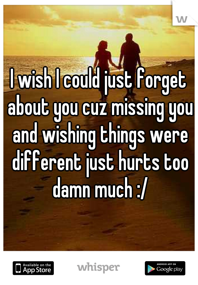 I wish I could just forget about you cuz missing you and wishing things were different just hurts too damn much :/