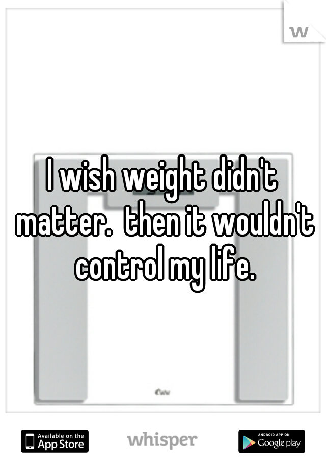 I wish weight didn't matter.  then it wouldn't control my life.